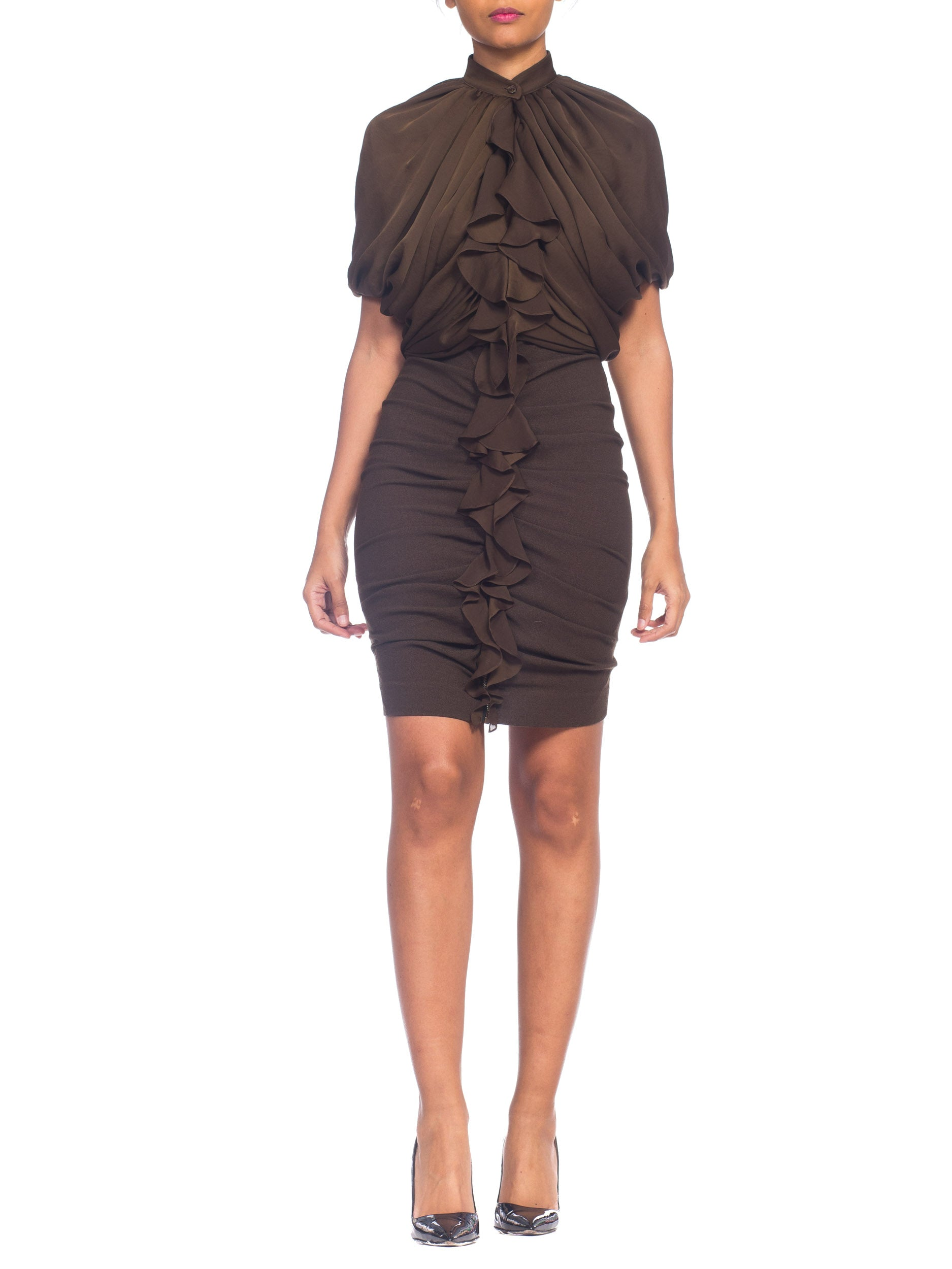 2000S Givenchy Draped Silk Dress With Stretch