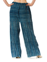 1970S Morphew Collection Cotton Summer Striped Palazzomade Of African Hand Woven Dyed Indigo Fabric