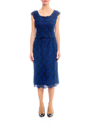 1950S Black & Sapphire Blue  Rayon Lace Cocktail Dress