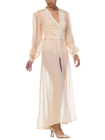 1940S Blush Pink Rayon Chiffon Sheer Peignoir Robe With Lace Ruffles & Mother Of Pearl Buttons