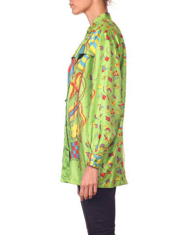 1990s GIANNI VERSACE Lime Green Silk Men's Flag Print Shirt
