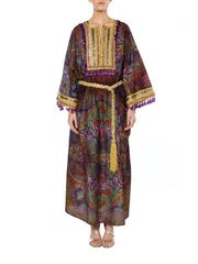 1960s Purple and Gold Kaftan with Tassles