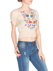 1940s Floral Hand Embroidered Boho Top