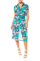 Parrot and Tropical Print Dress