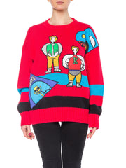 Maximalism Sweater with People Applique