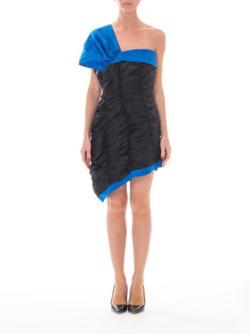 1980S JEAN LOUIS SCHERRER Black Silk Taffeta & Blue Satin One Shoulder Cocktail Dress