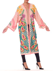 Morphew Collection Pink Chenille Bedspread Boho Beach Robe