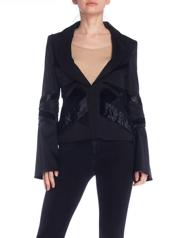 2000S TOM FORD FOR  GUCCI Black Satin & Velvet Pleated Bell Sleeve Blazer With Belt From Fall 2004 Runway, Sz 42