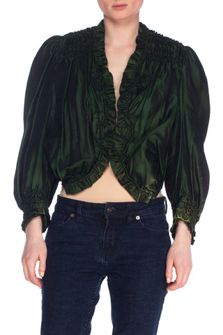 Green Silk Victorian Top