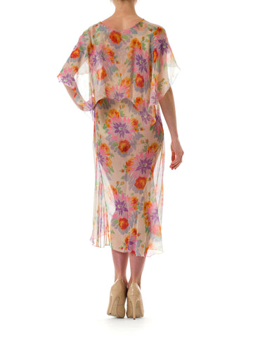 1930S Chiffon Sheer Floral Printed Light Dress