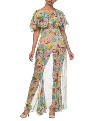 1930s Modern  Floral Printed Chiffon Dress