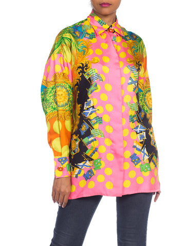 1990s Gianni Versace Miami Collection Tropical Silk Blouse