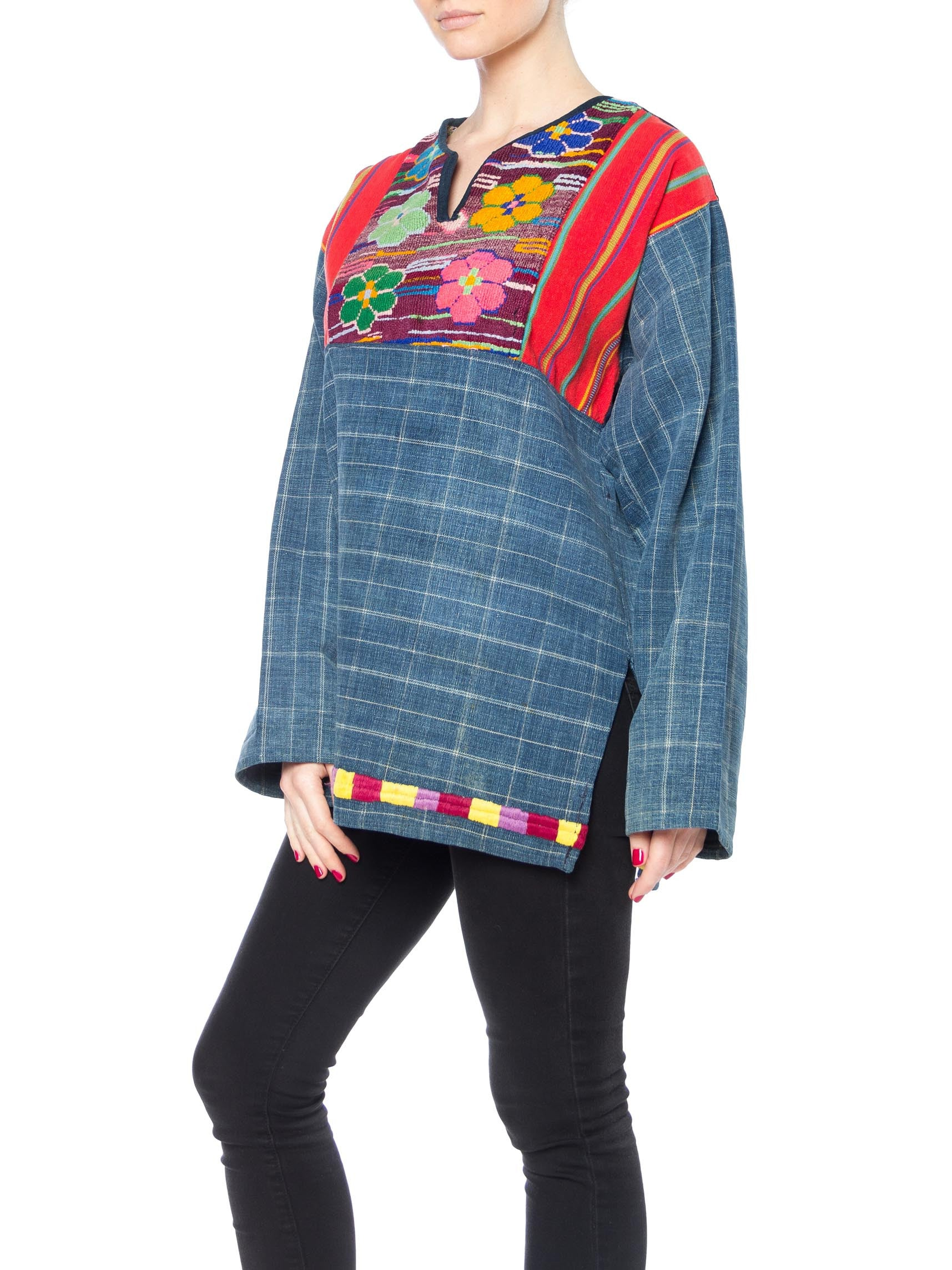 1970S Indigo Blue Cotton South American Pullover Top With Colorful Handwoven & Embroidered Details