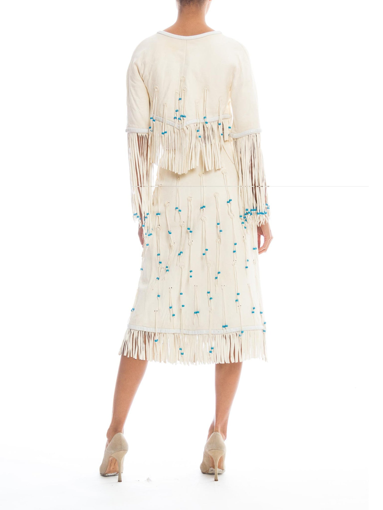 1970S GIORGIO SANT'angelo Off White Suede Fringed Skirt & Cropped Jacket Ensemble