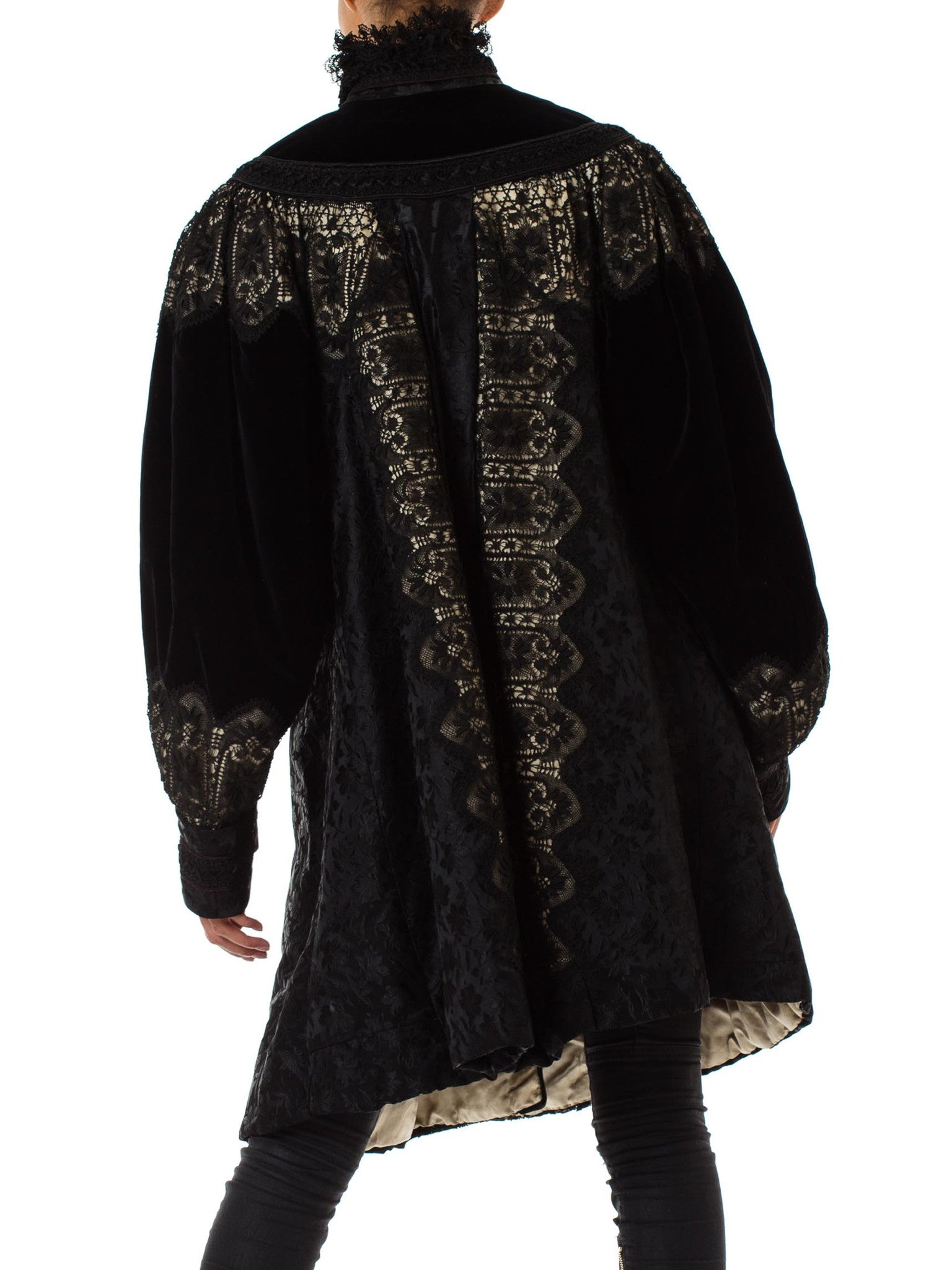 Victorian Black & White Silk Damask With Velvet And Handmade Lace Belle Epoch Swing Coat From Paris