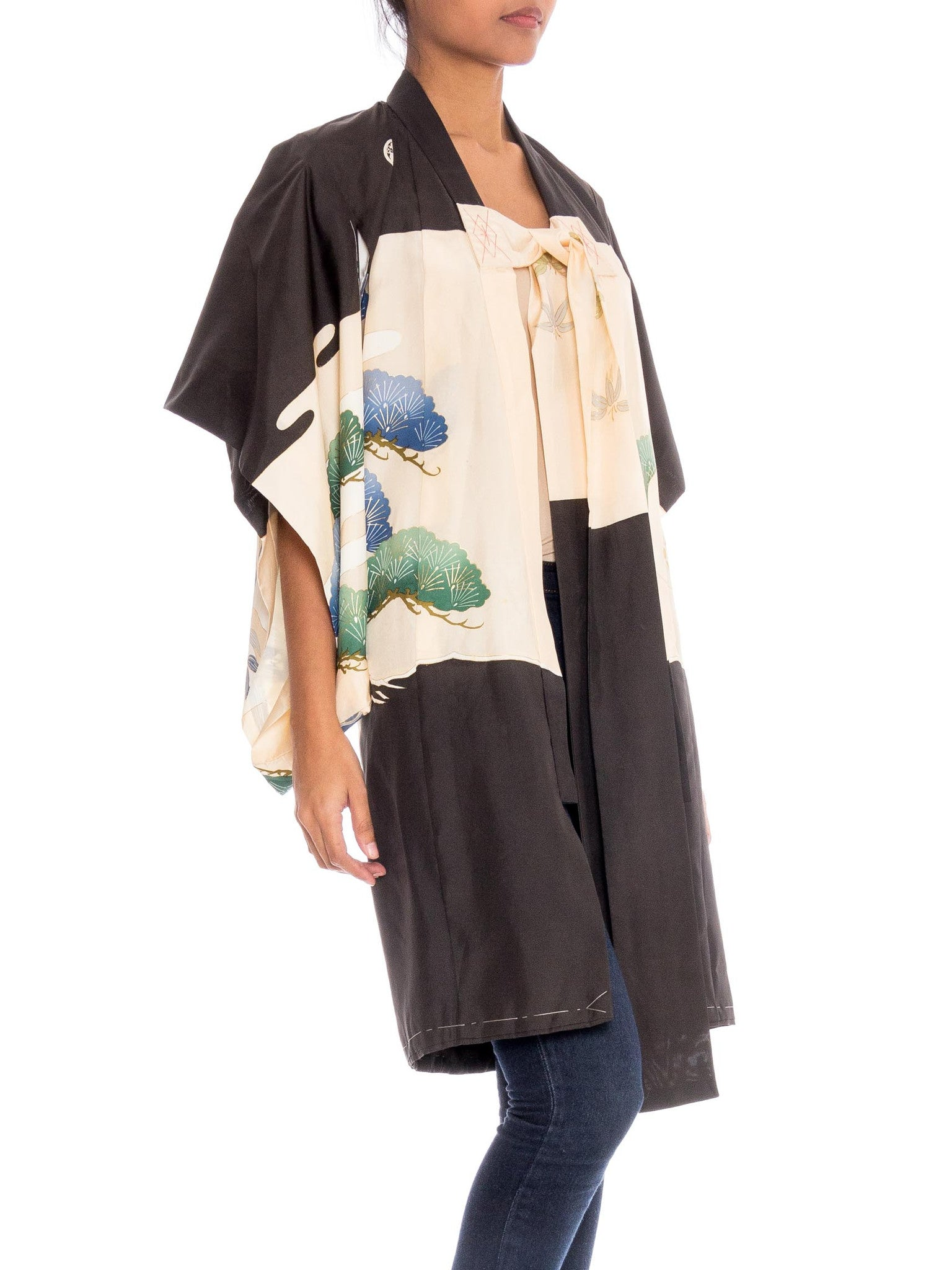 1970S Black & White Silk Kimono Embroidered In Gold With A Giant Eagle