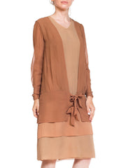 1920S Blush Pink & Nude Silk Chiffon Layered Tie Front Day Dress