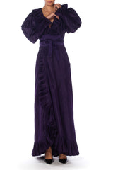 Ruffled Silk Taffeta Duster Coat Wrap Dress, 1970s