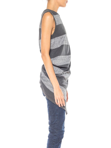 1980S Issey Miyake Grey Striped Cotton Jersey Asymmetrical Draped T-Shirt