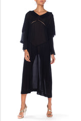 1920S Black Silk Chiffon Long Sleeve Day Dress With Pleated Ruffle At The Collar
