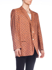 1960s Mens Hand Printed Silk Blazer XL
