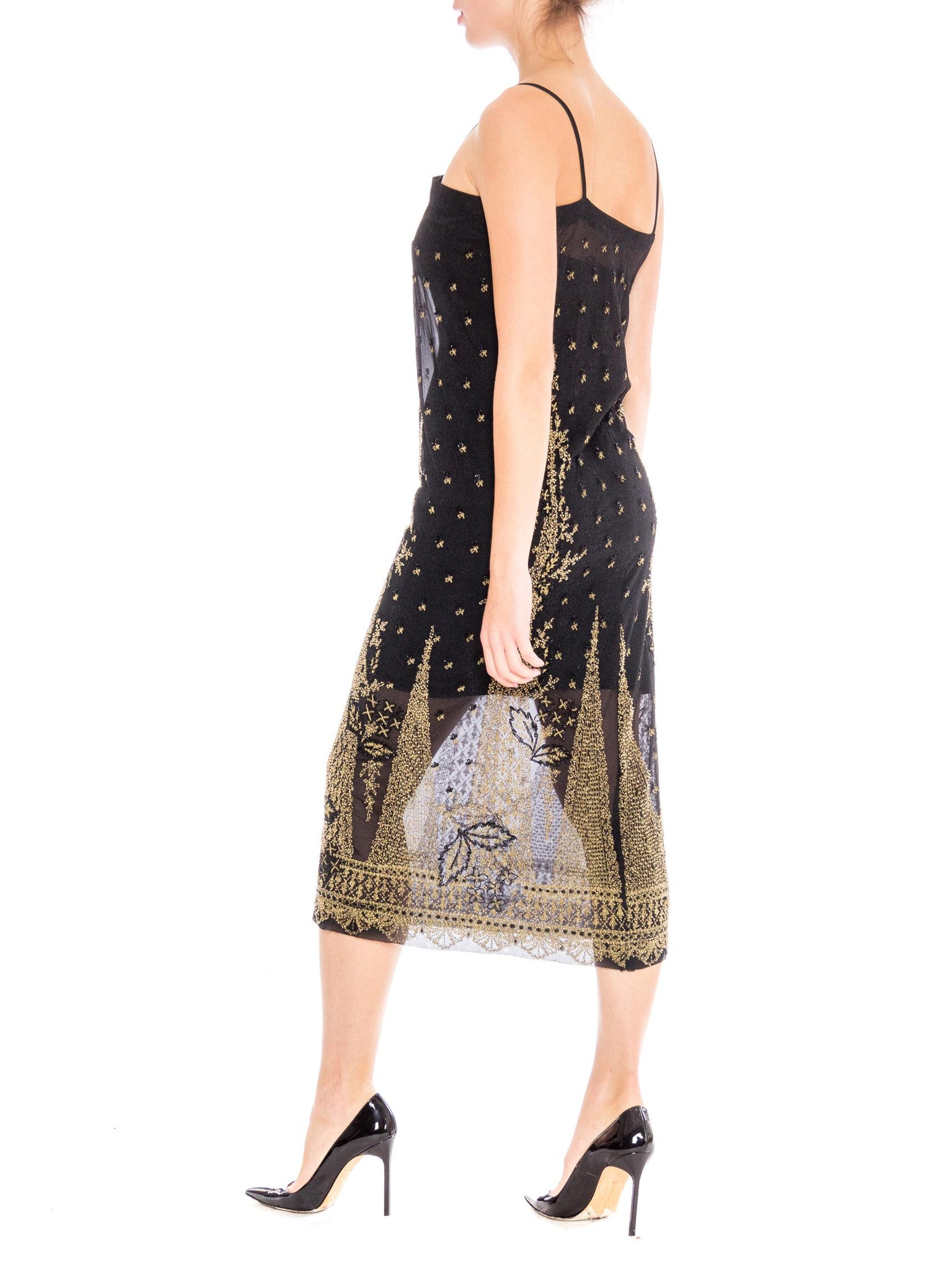 1920S Black Net Sheer Cocktail Dress With Gold Embroidery & Beading
