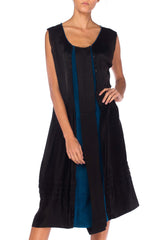 1920s Black Satin And Blue Velvet Dress