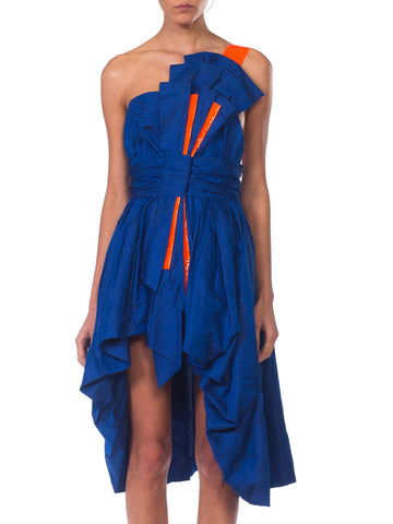 MORPHEW COLLECTION Sapphire Blue  Silk Taffeta Reworked 1950S High-Low Cocktail Dress With Large Bow & Neon Orange Accents