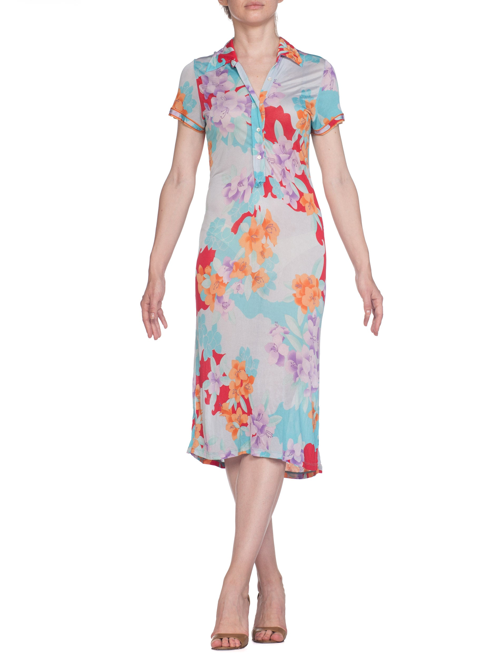 1980S LEONARD Pastel Sheer Rayon Blend Jersey Tropical Floral Print Dress