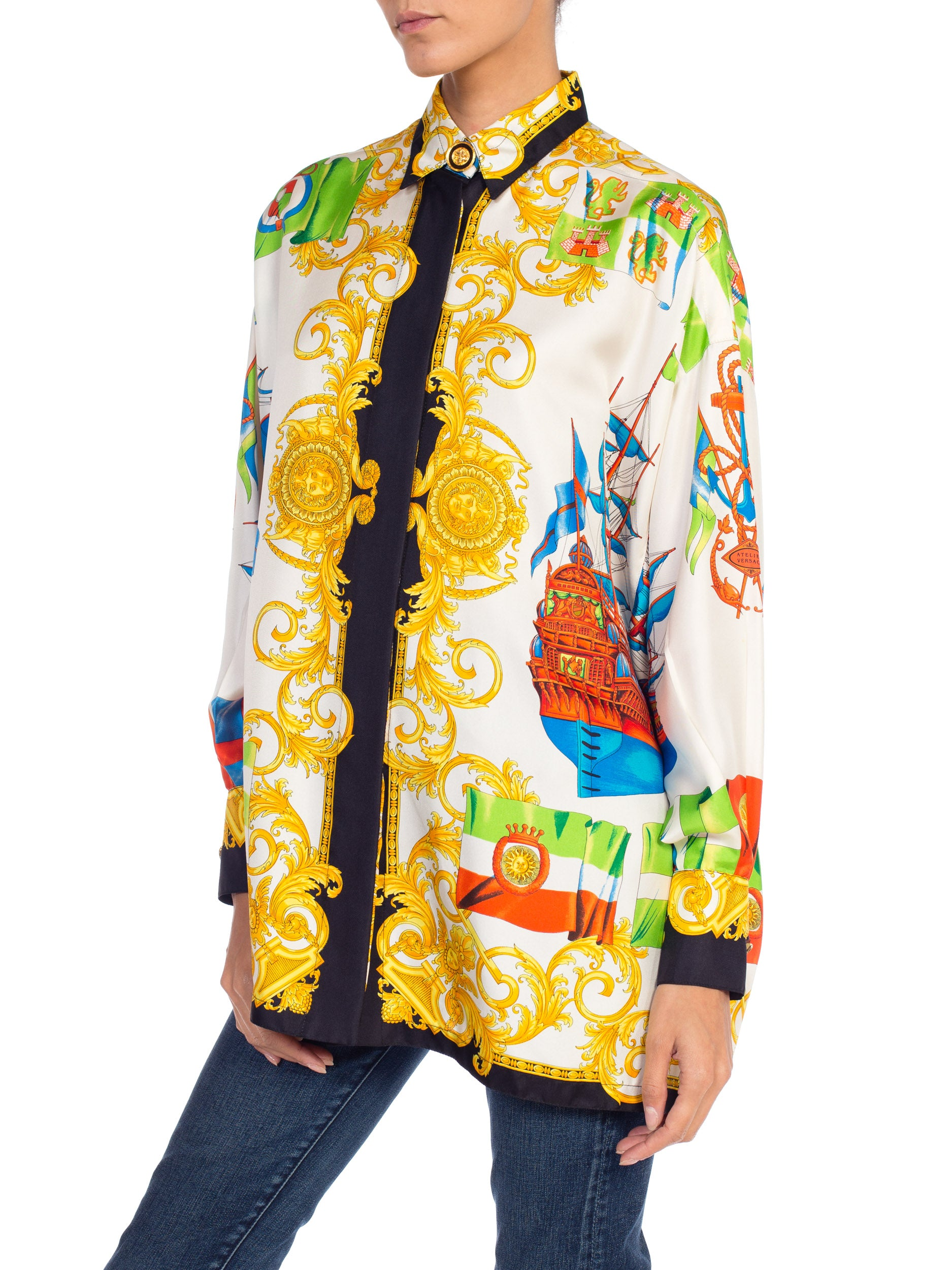 1990S GIANNI VERSACE Silk Blouse  Top