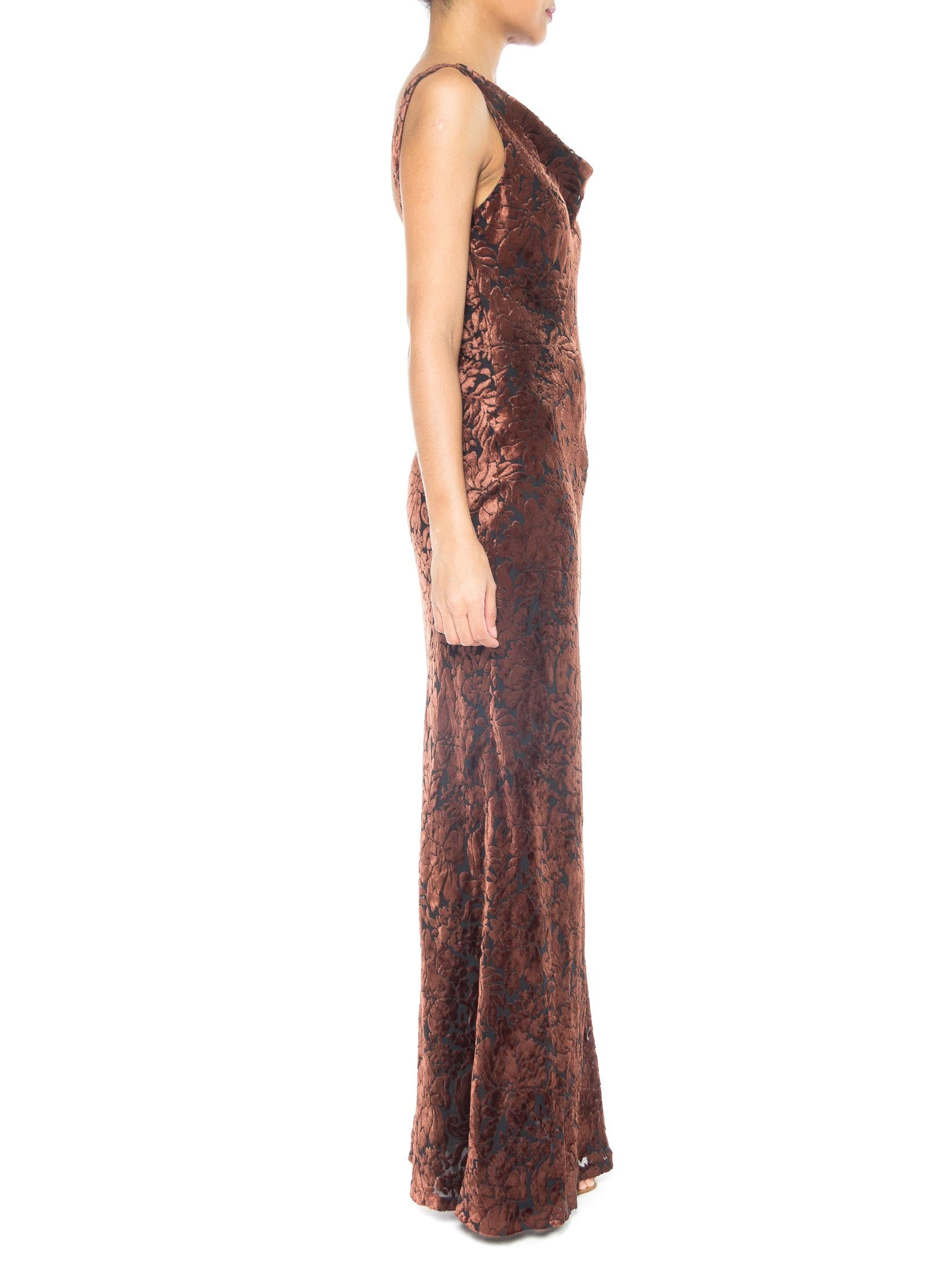 1990S CARMEN MARC VALVO Chocolate Brown & Black Rayon Silk Burnout Velvet Backless Bias Gown