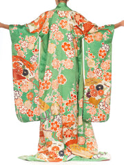 Green Weighted Ceremonial Handpainted Kimono with Embroidery