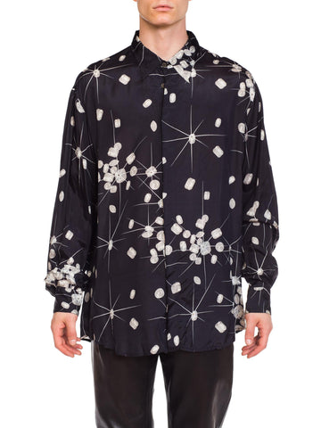 1990s Versace Diamond Print Shirt With Crystals