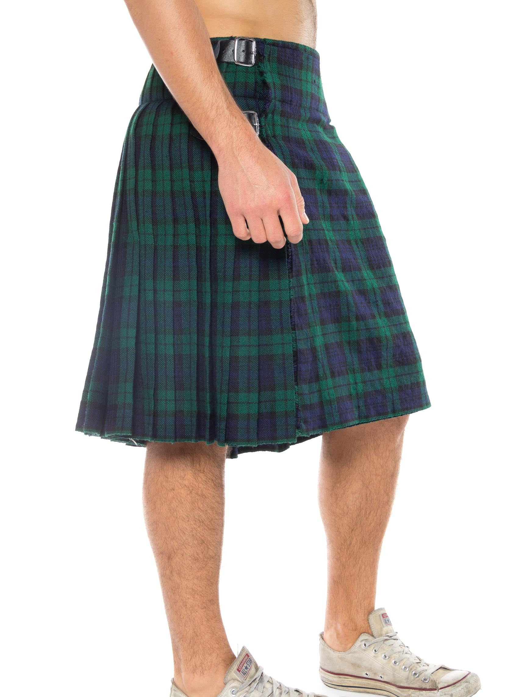 1980S Blue & Green Wool Men's Blackwatch Plaid Tartan Skirt / Kilt