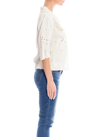 Edwardian Off White Hand Woven Linen Embroidered Blouse With Mother-Of-Pearl Buttons & Handmade Lace