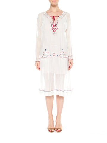 1920s Ethnic Embroidered Cotton Dress