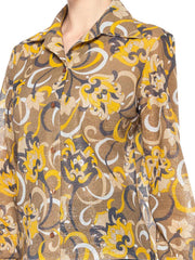 1960s Psychedelic Floral Lurex Top