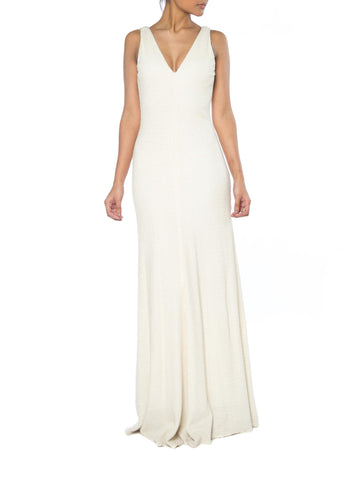Slinky Beaded Backless Carmen Marc Valvo Gown