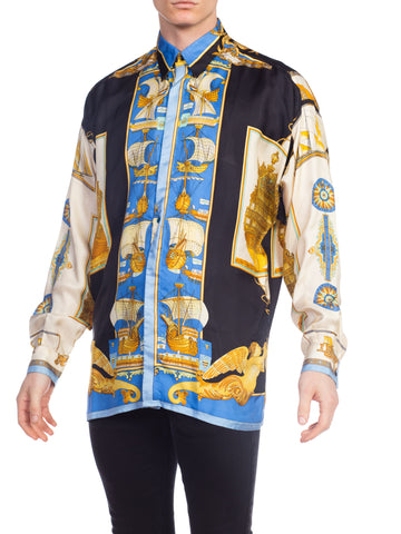 1990s Atelier Versace 18th Century Ships Nautical Print Silk Shirt
