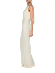 1990s Bias Cut Silk Chiffon Backless 1930s Style Gown