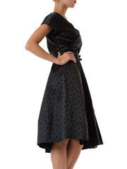 1950s Black Short Sleeve Surplice V-Neck Fit and Flare Dress