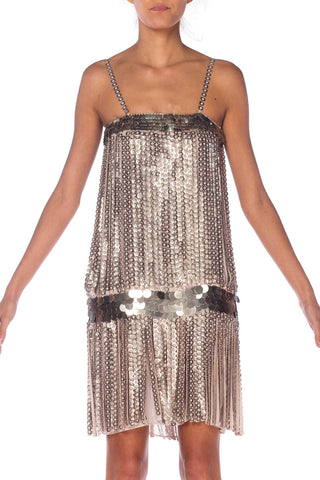 1990S Paco Rabanne  Style Dove Grey Rayon Metal Pallete Fringe Flapper Cocktail Dress