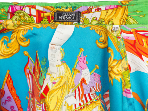1990S Gianni Versace Atelier Silk Blouse With Scottish & Chinese Dragons Top