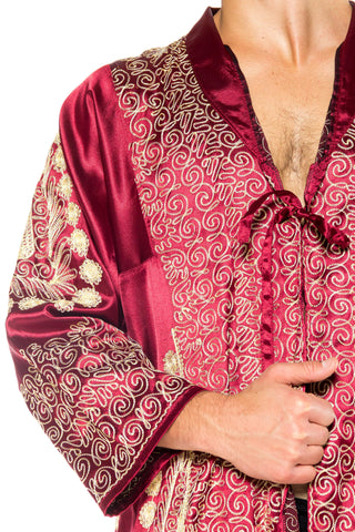 1970S Burgundy Gold Embroidered Satin Duster Kaftan Robe