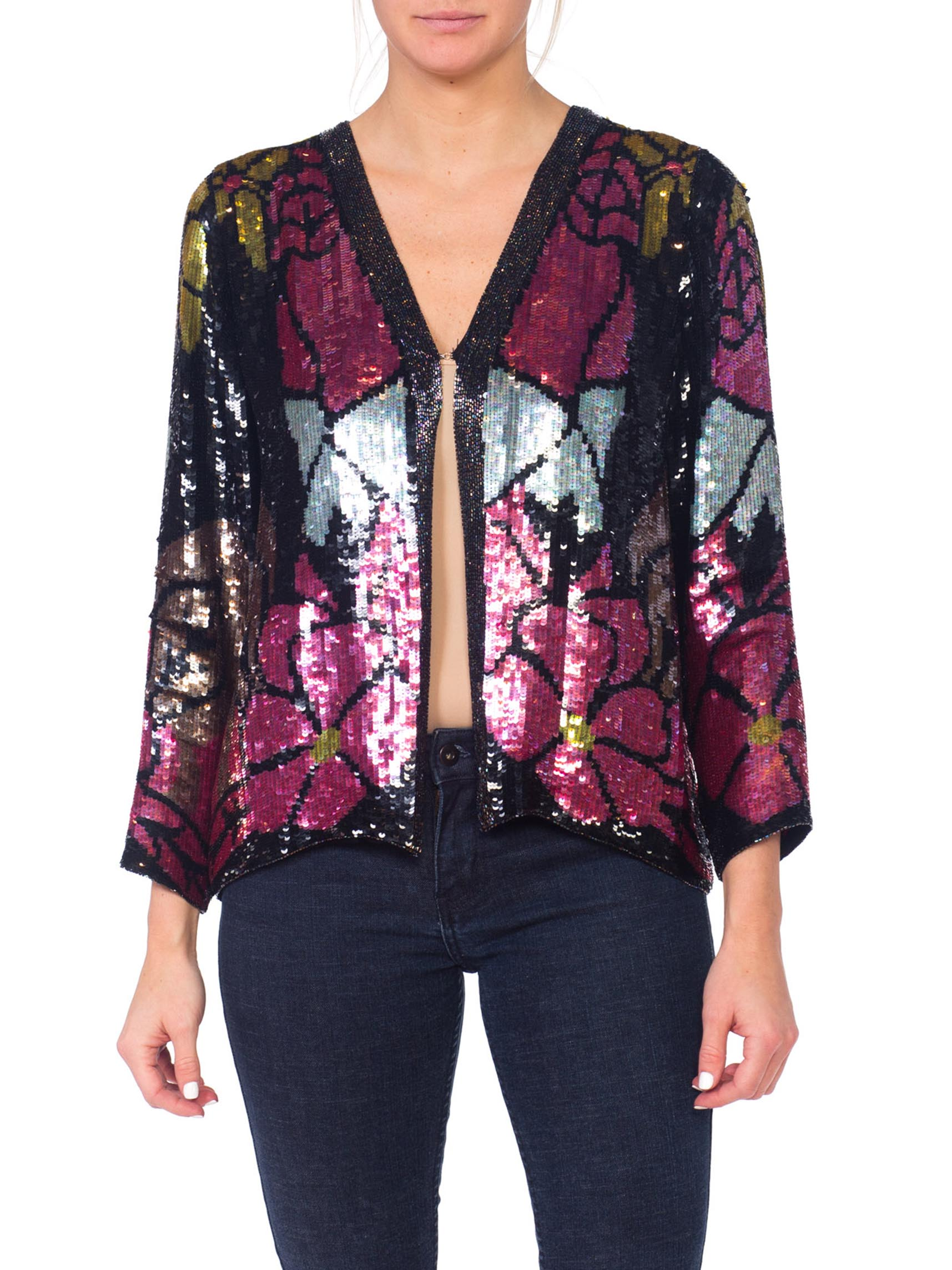 1970S Halston Style Black Silk Art Deco Floral Stained Glass Sequin Jacket