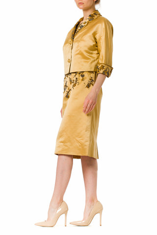 1950S Silk  Gold Beaded Short Sleeve Dress With Matching Jacket
