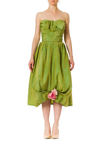 1950s Emma Domb Green Strapless Bow and Flower Rockabilly Party Dress