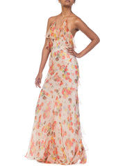 1930S Backless Bias Cut Floral Chiffon Dress With Real Coral Beads & New Silk Lining