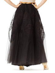 1940s Black Net and Lace Ball Skirt