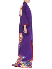 Royal Purple & Gold Japanese Silk Kimono